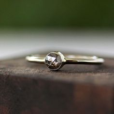 rose cut natural diamond set in sustainable 14k white gold, eco friendly, one of a kind