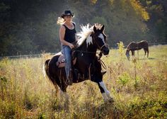 Lost Creek Ranch founder and horse trainer extradonairre Lynette Weldon on Gracie- her half arab mare and first rescue