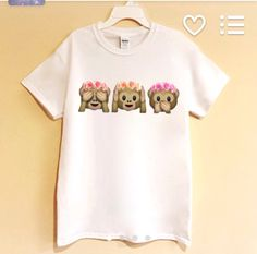Tumblr Monkey Emoji shirt : it's just to cute!!  Probably would be pared with jeans, a pink bow, and a pony tail braid.... My kind of style