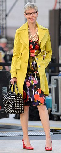 beautiful dress & citron coat with patterned bag, from Angie
