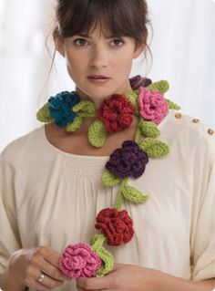 Belle Fleur crochet scarf by Debbie Stoller/Stitch Nation via Vogue free Patterns. NB log on required but pattern is free