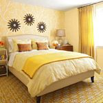 Warm Yellow Bedroom : The bedroom is the room where we lay your head to rest unwinds after a hard day's work. The bedroom is our privacy – a place where everything needs to be any interior design. A place where we can . Bedroom Decorating Tips, Small Apartment Decorating, Decorating Ideas, Apartment Ideas, Rental Decorating, Apartment Living, Interior Decorating, Decor Ideas, Small Apartments