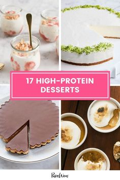 Dessert isn't healthy per se, but if you pick one with protein, it can help you skip the sugar crash. Here, 16 high protein desserts to end your meal on a sweet note. #highprotein #desserts #protein High Protein Desserts, High Protein Dinner, High Protein Recipes, Protein Foods, Healthy Desserts, Just Desserts, Delicious Desserts, Healthy Recipes, My Recipes