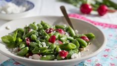 Chopped Sugar Snap Pea Salad with Fresh Cheese and Mint