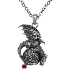 CGC Pewter Dragon Celtic Trinity Knot Orb Pendant 24-inch Chain Necklace - Walmart.com