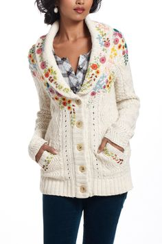 flower Embroidered Cableknit Cardigan - Anthropologie.com  Oh anthro - i should just find an old man sweater and do this to it for 10 bucks. :P