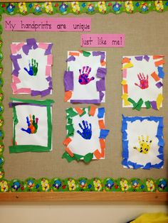 tear construction paper to create frame - fine motor Unique handprints; tear construction paper to create frame - fine motor Preschool Projects, Daycare Crafts, Preschool Lessons, Preschool Learning, Preschool Crafts, Back To School Crafts, All About Me Crafts, All About Me Art, All About Me Eyfs