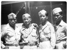 Ordnance Ammo Company (Philippine Scouts) Left To Right: Joel Bais, Domingo Pasaporte, Eliseo Jamolo, Vicente Mejica. Ordnence Company during peacetime in the Philippines Filipiniana, Military Veterans, World War One, Pearl Harbor, The Province, South Pacific, Scouts, Ww2, Vintage Photos