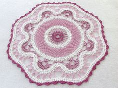 Raspberry Bruges Lace Doily