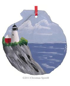 Personalized Lighthouse Ornament-Pemaquid-Shell from the Christmas Spirit® Shop in Bar Harbor Maine