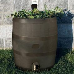 35 gal. Round Rain Barrel with Brown Planter-55130001005681 - The Home Depot