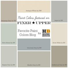 Fixer Upper Paint Colors. HGTV Fixer Upper Favorite Paint Colors. Amazing Gray SW7044 Sherwin Williams, Antique White SW6119 Sherwin Williams, Argos SW7065 Sherwin Williams, Silver Strand SW7057 Sherwin Williams, Uncertain Gray SW6234 Sherwin Williams, Dover White SW6385 Sherwin Williams, Repose Gray SW7015 Sherwin Williams, Mindful Gray SW7016 Sherwin Williams, Intellectual Gray SW7045 Sherwin Williams #FixerUpper #PaintColors #HGTVFixerUpperFavoritePaintColors #HGTVFixerUpper…