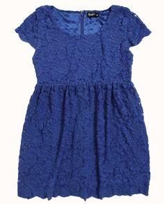 Lace Cap Sleeve Dress - Bardot Junior  $69.95  Blue, Black, Cream, Dark Pink
