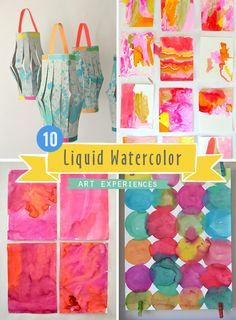 10 art experiences for kids using liquid watercolors!