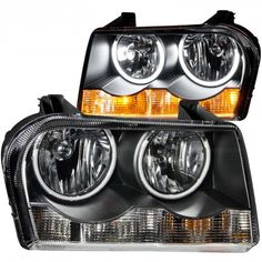 Anzo 121138   2005 Chrysler 300 Black CCFL Halo Crystal Headlights for Sedan