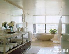 Zen master bathroom. Design: Vicente Wolf. housebeautiful.com. #bathroom #white #zen
