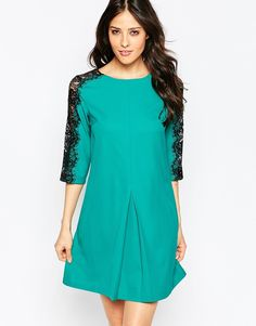 PAPER DOLLS Paperdolls Shift Dress with Lace Sleeve Detail