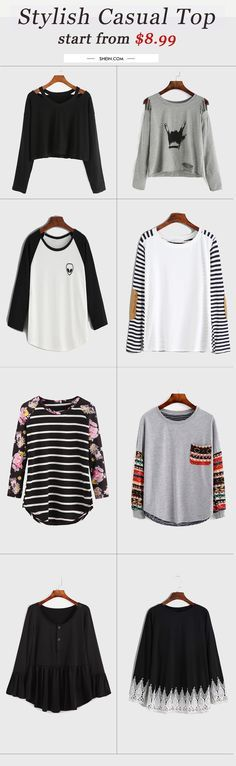 Stylish long sleeve t-shirt collection for fall/winter. Start from $8.99 at shein.com.