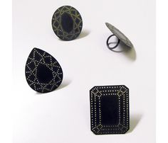 Akiko Kurihara 'Gem' rings in silver and glass (I put the glass beads on the position of the gemstone cuts)