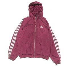 Adidas Burgundy Parka Large Perennial Merchants ($58) ❤ liked on Polyvore featuring outerwear, jackets, adidas, burgundy jacket, purple jacket, burgundy parka and parka jacket