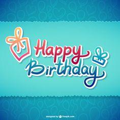 Feliz aniversário ilustração tipográfica Vetor grátis