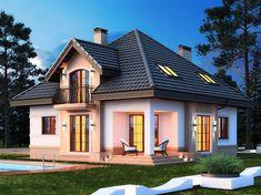 Projekt domu Opałek K 2G 136,8 m2 - koszt budowy 245 tys. zł - EXTRADOM Apartment Balcony Decorating, Apartment Balconies, Duplex House, Design Case, Home Fashion, Future House, Tiny House, Architecture Design, House Plans