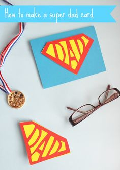How to make a super dad card for Father's Day. Free printable template and instructions for a cute geeky gift. Fathers Day Crafts, Happy Fathers Day, Diy For Kids, Crafts For Kids, Preschooler Crafts, Daddy Day, Father's Day Diy, Super Dad, Gifted Kids