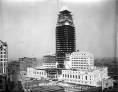 Another construction photo of LA City Hall, also from 1927.  losangelespast:    Los Angeles City Hall under construction, 1927.