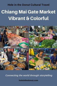 The vibrant and colorful Chiang Mai Gate Market in Thailand. Travel in Asia.