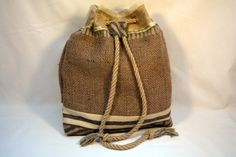 Hessian Back Pack. Handmade using recycled/upcycled by JuteAlors Unique Presents, Unique Gifts, Hessian, Burlap, Unusual Christmas Gifts, Backpacking Food, Handmade Bags, Jute, Bucket Bag