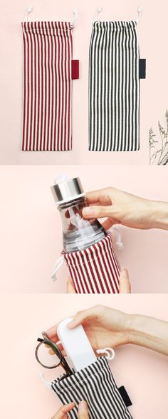 The Medium Slim Stripe Drawstring Pouch is a super versatile pouch that has many uses! This pouch has horizontal stripes in bright colors that look super cute and makes you want to carry it everywhere. The pouch has a long cylindrical shape, and thanks to its shape you can put various items inside. This pouch can be a pouch for your everyday item, pencils, and stationery, or even a slim water bottle, and the drawstring makes it really easy to open and close the pouch. Slim Water Bottle, Drawstring Pouch, Selfie Stick, Everyday Items, Pen Holders, Bright Colors, Fabric Design, Stationary, Purses And Bags