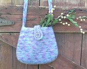 felted wool purse hand knit purple, aqua and gray