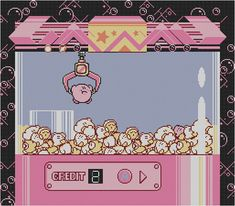 Kirby's Adventure UFO Catcher Claw Machine Crane Game Cross Stitch Pattern Digital Download PDF