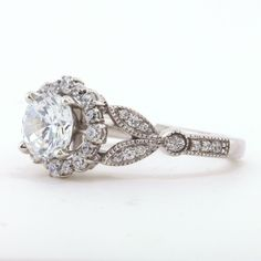 Flower Engagement Ring | SerenadeDiamonds on Etsy