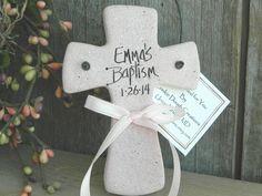 Personalized Cross Salt Dough Ornament Baptism / Christening Favor