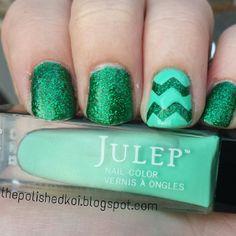 Green Chevron Nails using Julep: Priscilla (Emerald) & Julep: Denver (Mint)
