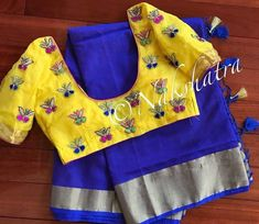 Beautiful blue color saree and sunshine yellow color designer blouse with butterfly design hand embroidery thread work.
