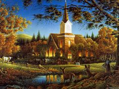 Sunday Morning by Terry Redlin ~ autumn ~ church ~ deer