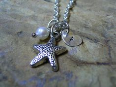 Silver Starfish Necklace Pearl Necklace Hand by KottageKreations, $25.00