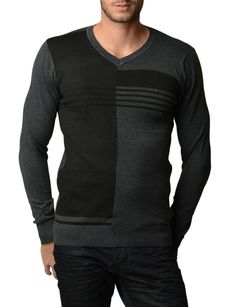 Men's Black and Grey Polar V Neck Sweater| Home Goods Galore