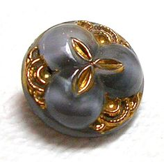 Fantastic 1950's Dove Gray Glass Moonglow Button w Golden Luster