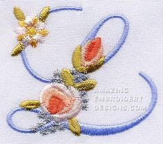 Amazing Embroidery Designs  letter L with roses