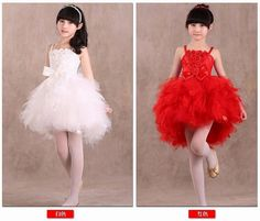 Fashion children party red white feather style kids prom dresses for girls 2016