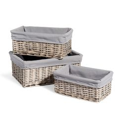 3 OUESSANT whitewashed wicker baskets
