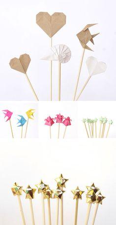 Toppers de origami en Material de decoración para cupcakes y magdalenas