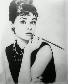 My charcoal drawing of Audrey Hepburn :)
