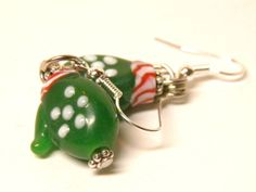 HOLIDAY SALE! Artisan Handcrafted Green Christmas Mittens Lampwork Glass Earrings with Sterling Silver French Style Ear Wires. Each Lampwork Glass Bead is made by hand, and is One of a Kind. No two will be exactly the same. Sent in a Gift Box. Artisan Handcrafted Jewelry by MelancholyMind