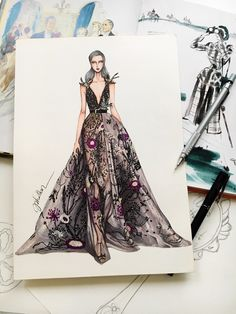 Elie Saab haute couture #sketch #sketching #draw #drawing #fashion #fashionsketch #fashiondrawing #fashionillustrator #fashionillustration #fashionart #art #artwork #instaart #illustrator #illustration #hautecouture