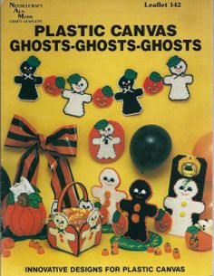 "Ghosts patterns in 7"" plastic canvas to use to make centerpieces, switchplate cover, doorknob cover, treat dish, basket, tissue holder, or garland."