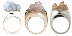 Raw ring collection mixing modern precious metal jewelry peppered with gemstones.